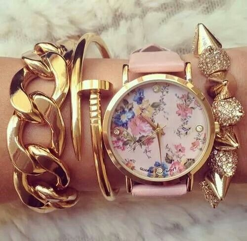Floral watch and bracelets