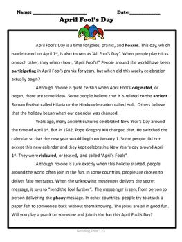 April Fool's Day Reading Comprehension Passage Gr. 3-6 ...