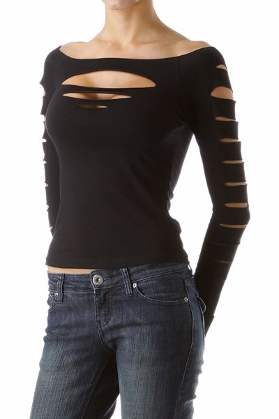 78f1415c0a15a Punk Clothing Top Long Sleeve Slashed Shirt ( Get your goth on with gothic  punk…