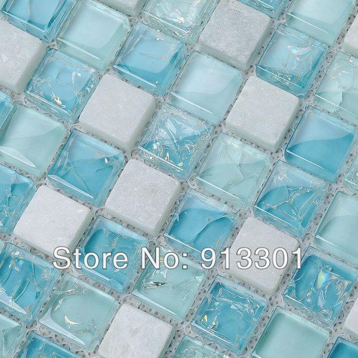 Crystal glass tile for bathroom wall and kitchen backsplash stone ...