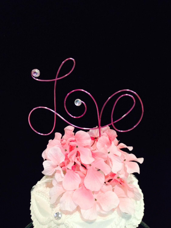 Love cake topper Pink wire NEW ITEM Modern by AllegroArt, $25.00 ...