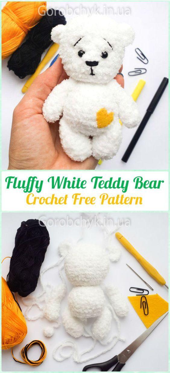 Amigurumi Crochet Fluffy White Teddy Bear Free Pattern - Amigurumi ...