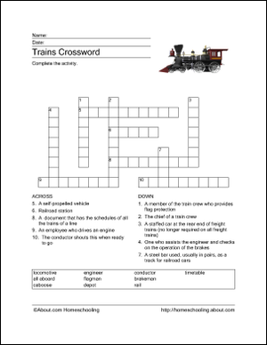 Trains Word Search Crossword Puzzle And More Crossword Puzzle Crossword Train