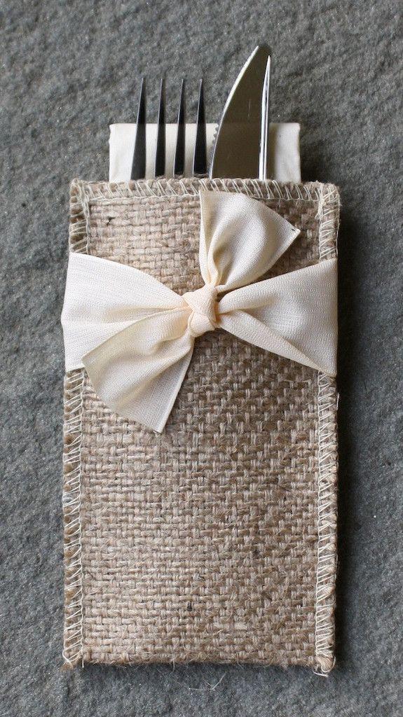 Cream Ribbon Design - burlap and bow