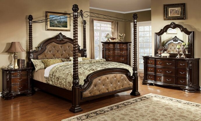 Cm7296da C 5 Pc Monte Vista Ii Dark Walnut Finish Wood Queen 4 Poster Canopy Bedroom Set With Dark Brown Tufted And Padded Leatherette Head And Foot Boards Canopy Bedroom Sets Bedroom