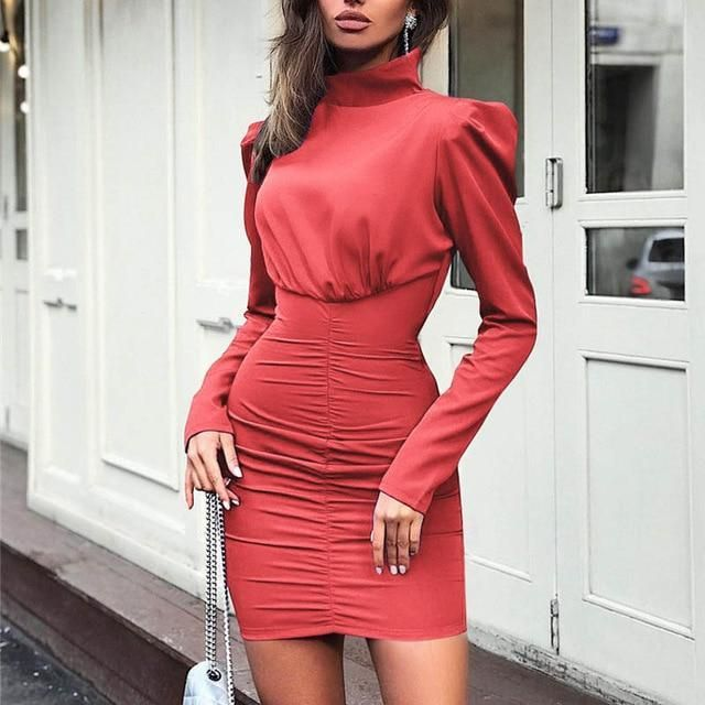 Fanbety Autumn women pleated Package Hip Dress Lady Puff Long sleeves Bodycon Mini Dress Elegant Casual turtleneck party Dress