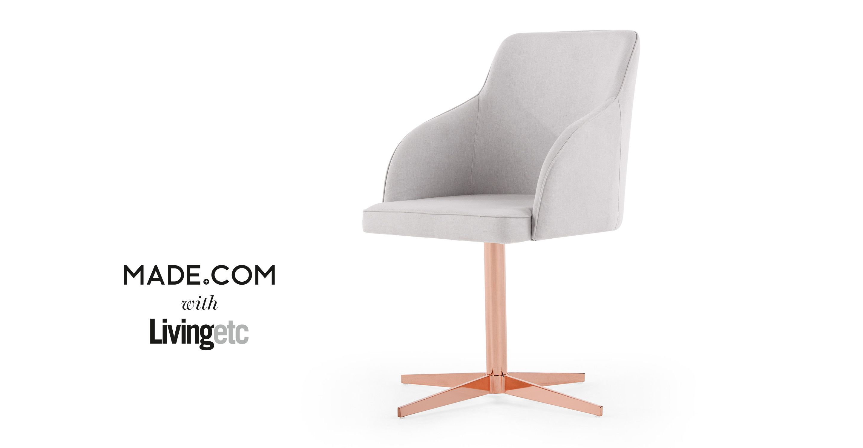 Keira fice Chair Cloud Grey and Copper