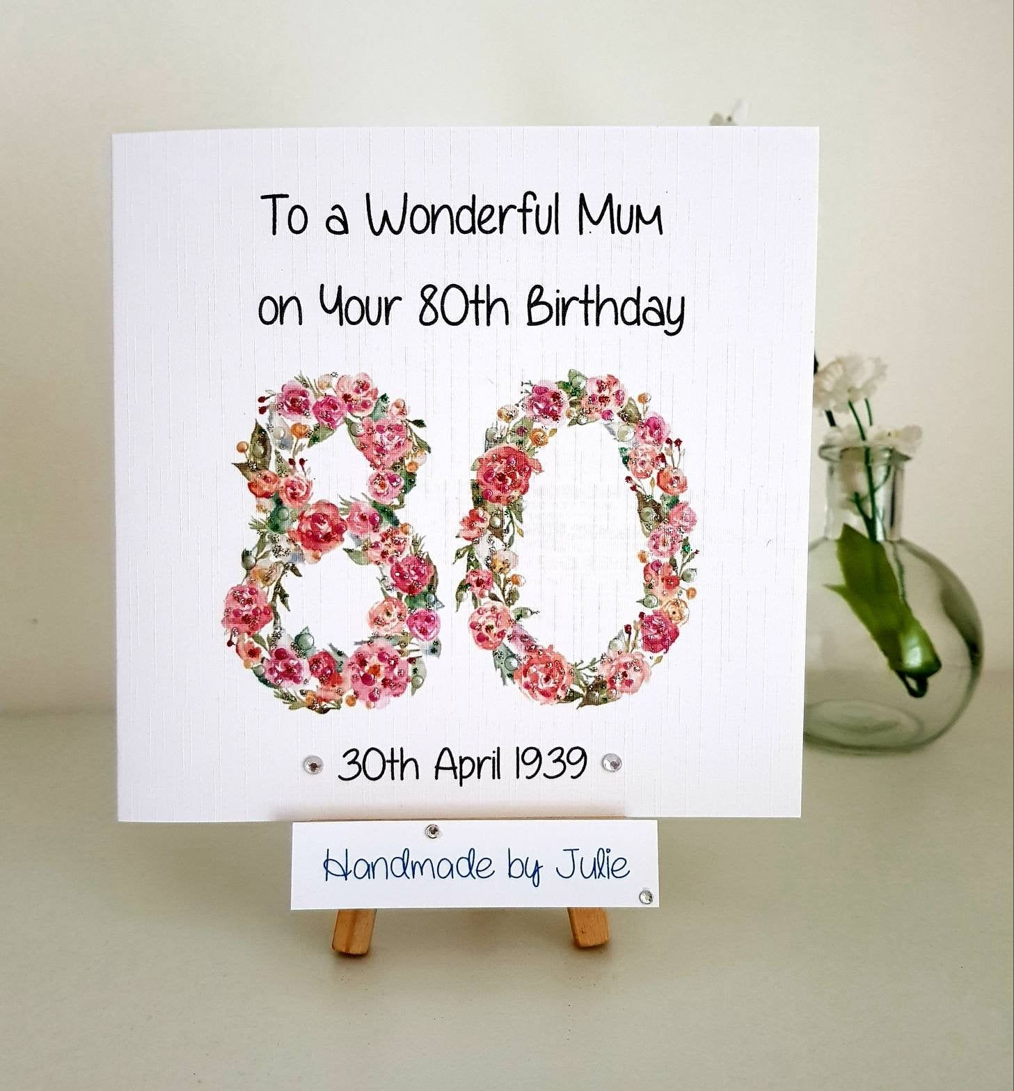 80th Birthday Card Handmade And Personalised For You Etsy 80th Birthday Cards Birthday Cards For Mum Handmade Birthday Cards