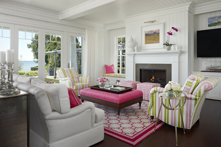 Marianne Jones Pink And Green Living Room With U Shaped Furniture Arrangement Composed Of White