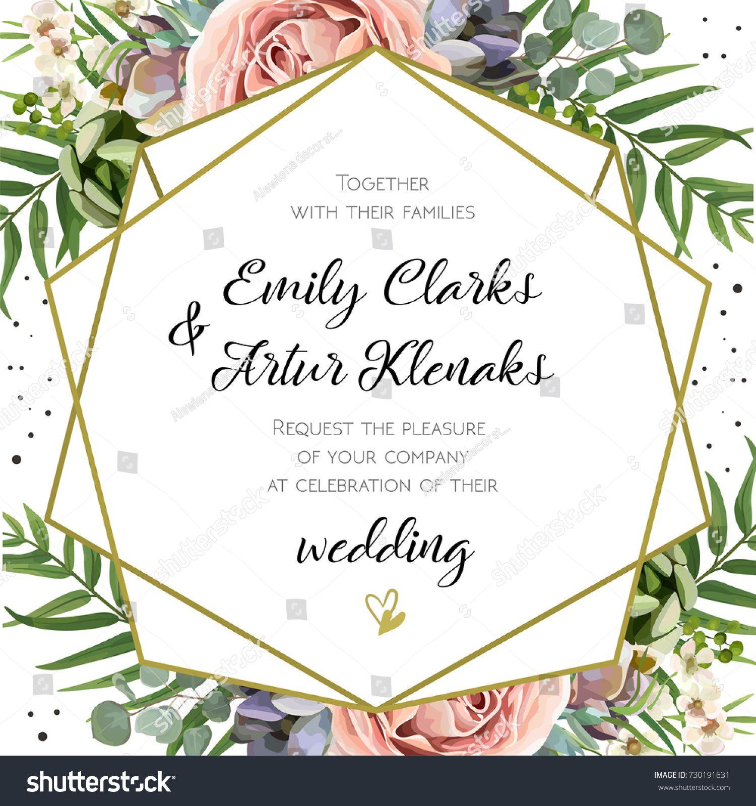 Flowers Vector Design Wedding Invitations Wedding: Wedding Invitation, Floral Invite Card Design: Peach