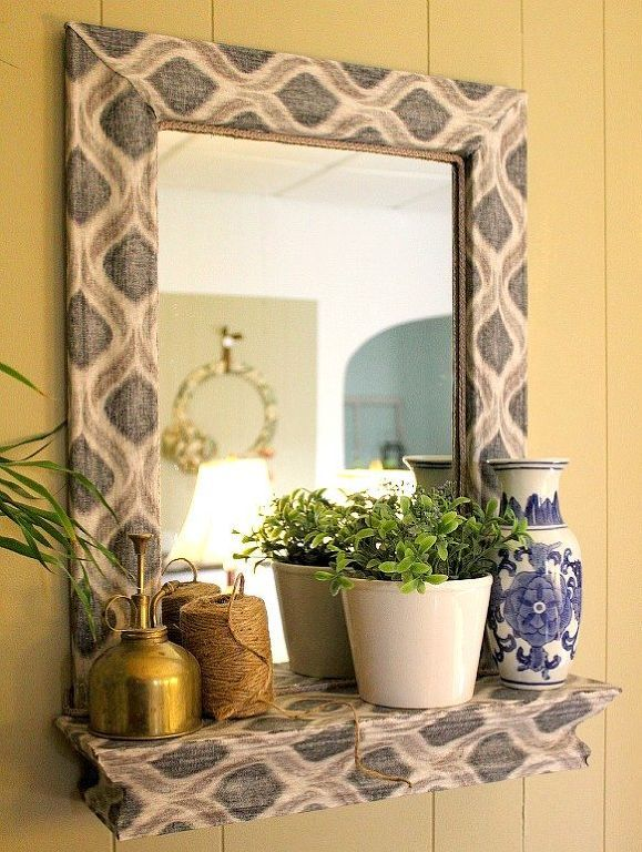 A Fabric And Mod Podge Covered Mirror, Crafts, Decoupage, Home Decor, It S  A Little Bolder Than I Usually Go In My Home But I Love It So Glad I Took  This ...