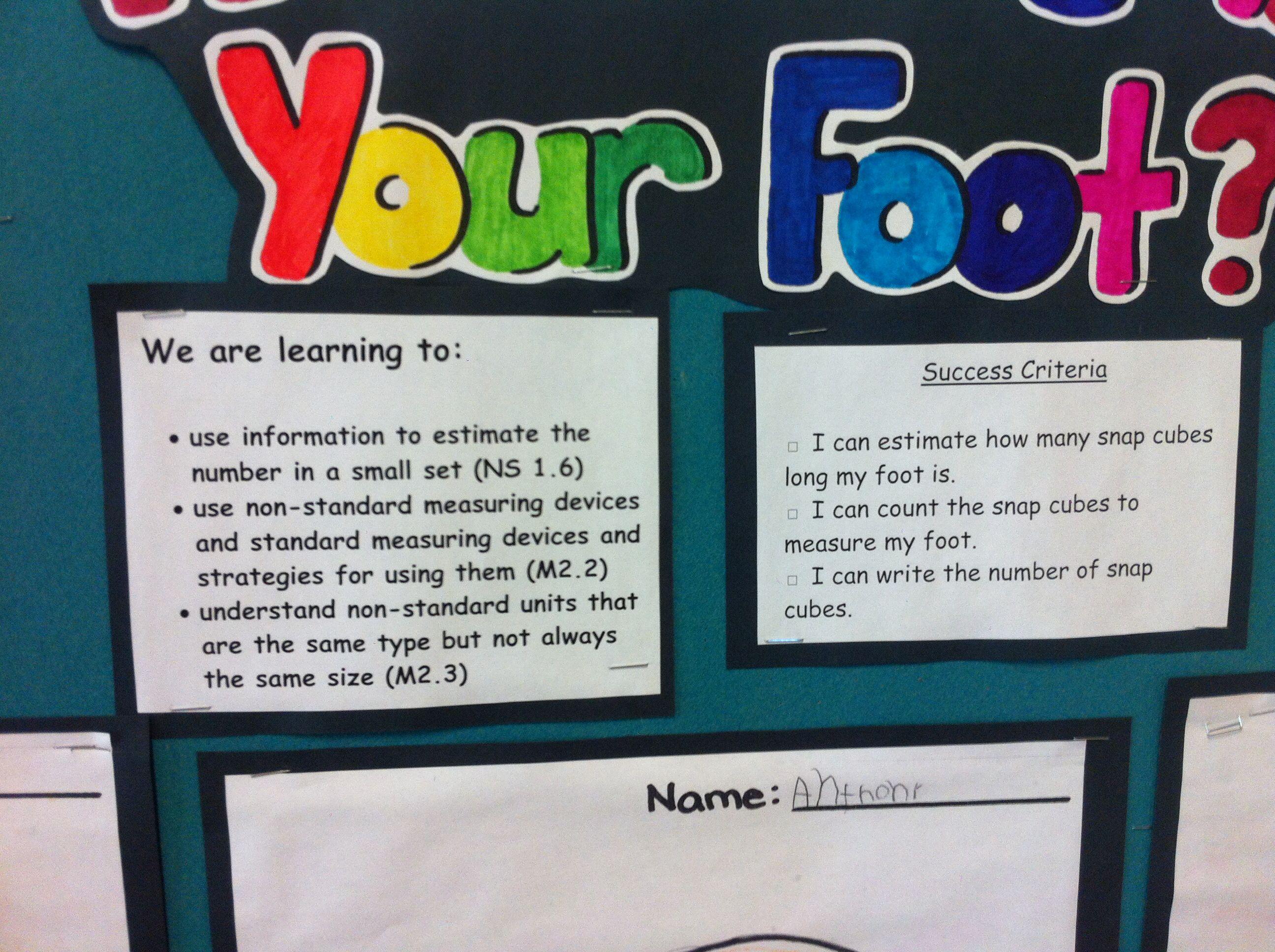 Success Criteria Kindergarten Measurement Unit