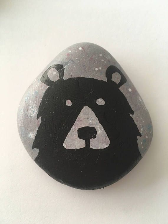 Black Grizzly Bear Painted Rock Animals Painted Rocks Pet Rocks