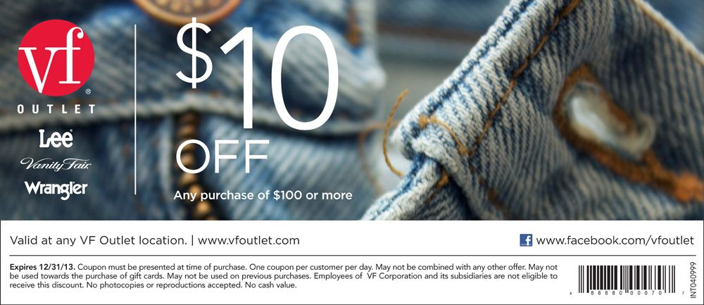 photo relating to Vanity Fair Coupons Printable named $10 off at VF outlet (Wrangler, Nautica, Vainness Realistic, Lee