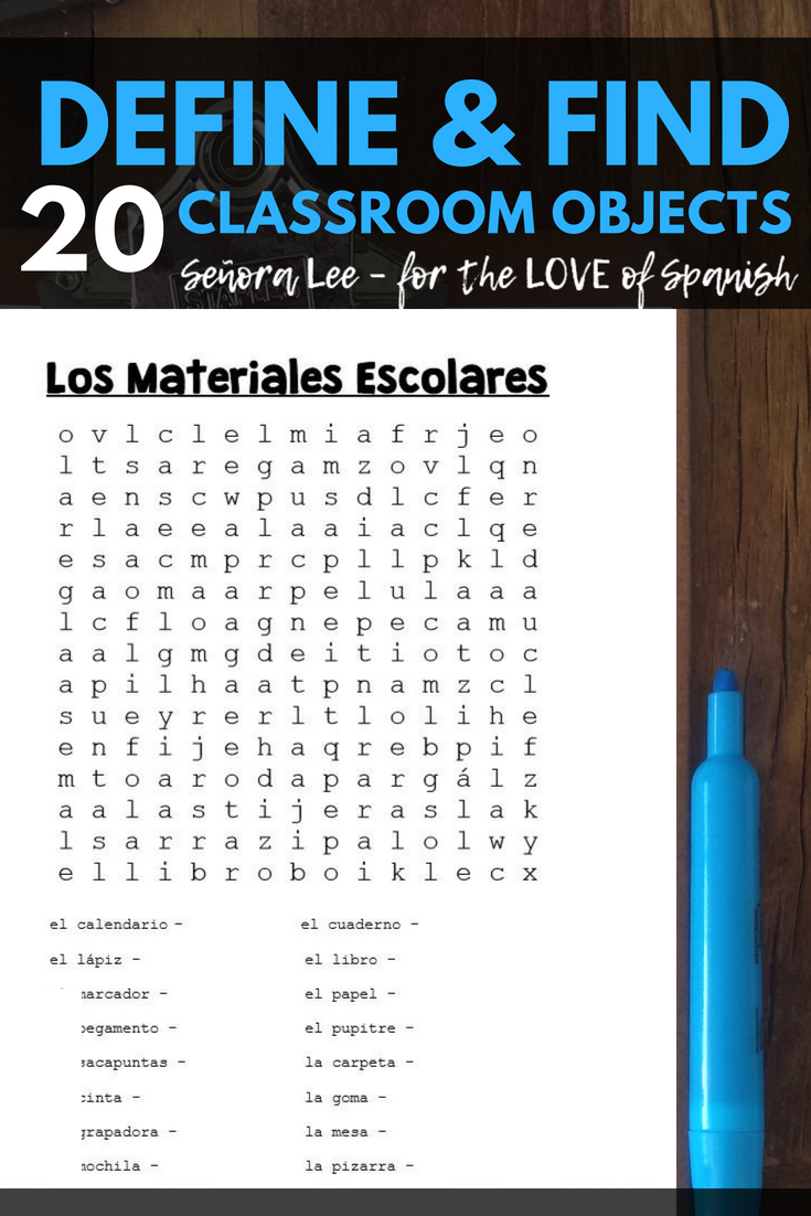 Spanish Classroom Objects Word Search Los Tiles Escolares