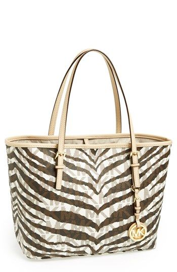f3afd0346f77 MICHAEL Michael Kors 'Small Jet Set' Zebra Travel Tote available at # Nordstrom