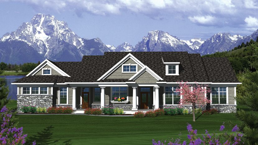 ranch home plan single story low pitched roof