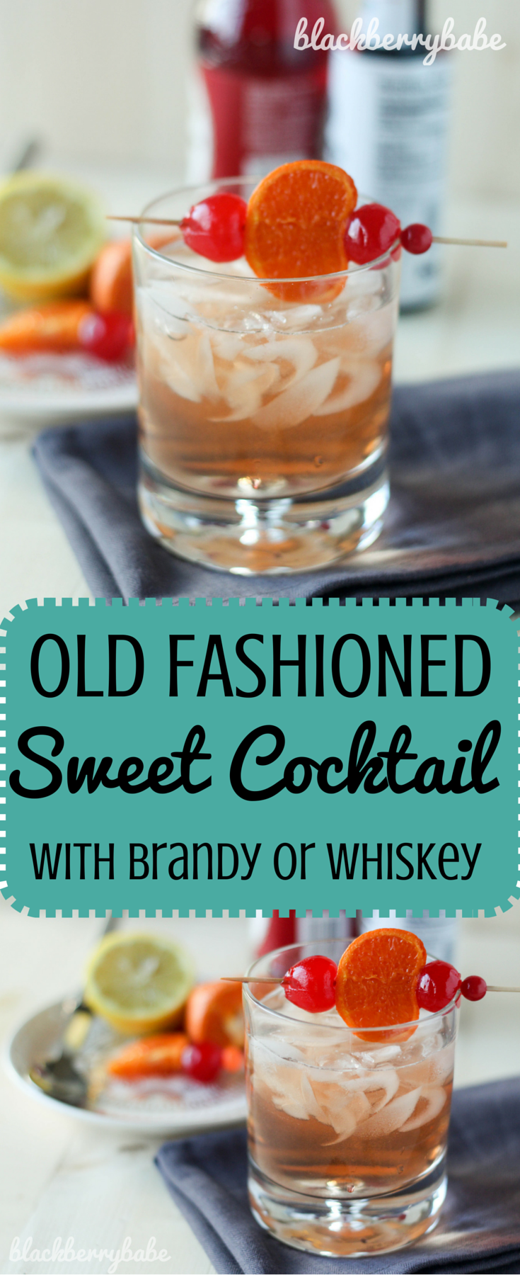 Old Fashioned Sweet Cocktail with Brandy or Whiskey (1 ...
