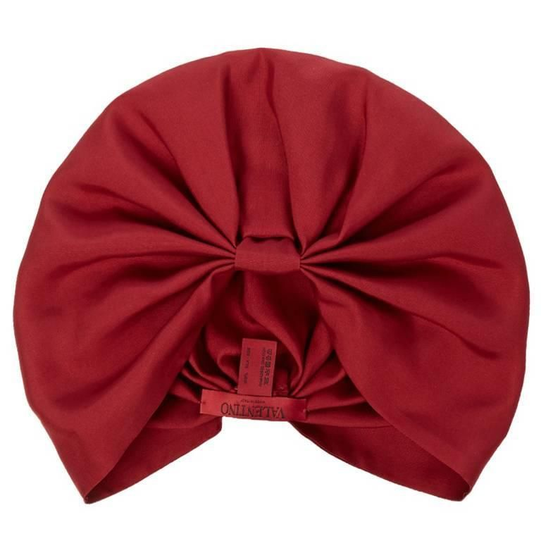 Valentino NEW & SOLD OUT Red Burgundy Silk Turban Beanie Beret Wrap Hat  | 1stdibs.com