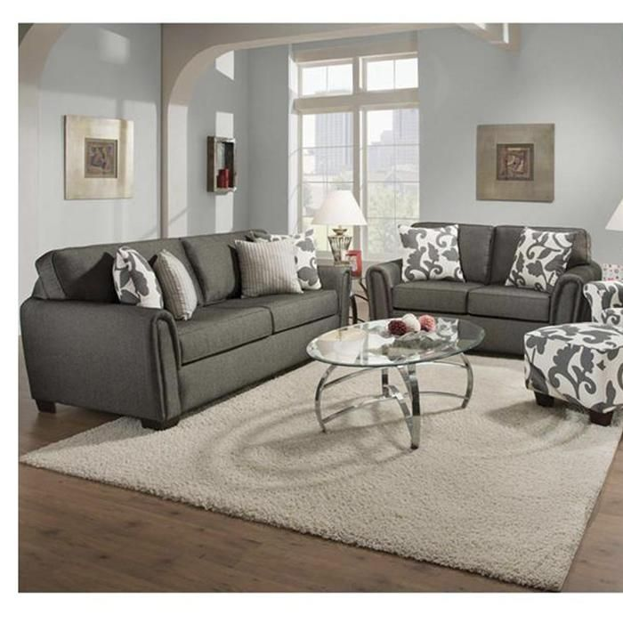 Living Room Furniture Kansas City contemporary sofa and loveseat in talbot onyx | nebraska furniture