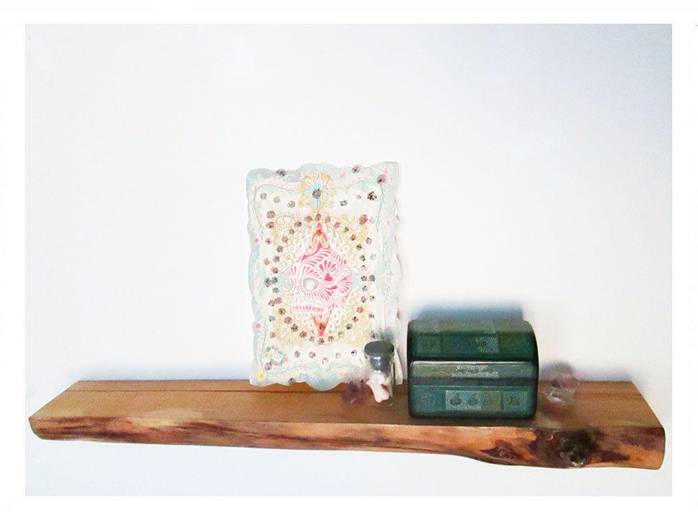Natural Wood Floating Shelf Rustic Wooden 42 00 Via Etsy