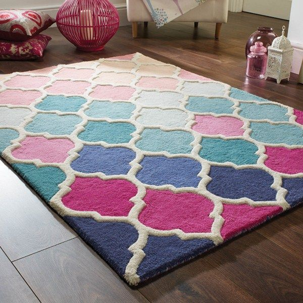 Illusion Roa Thick Hand Tufted Wool Moroccan Pattern Pink Blue Rug In 3 Sizes X 170 Cm