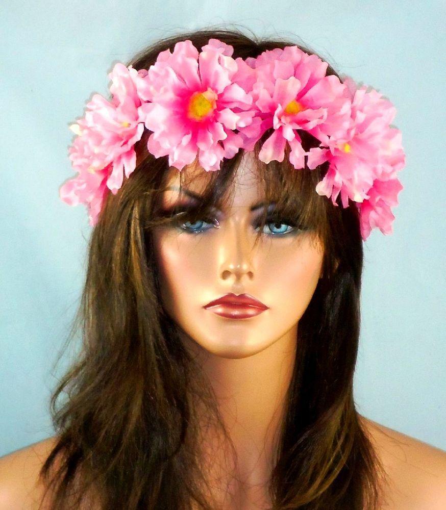 Flower Crown Floral Headband Daisy Boho Hippie Festival Halo Head