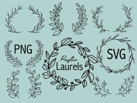 Photo of FLORAL LAURELS and WREATHS, hand drawn wreaths, doodle clipart, floral wreaths, rustic, drawn wreaths, PNG, SVG, vector wreaths, wedding