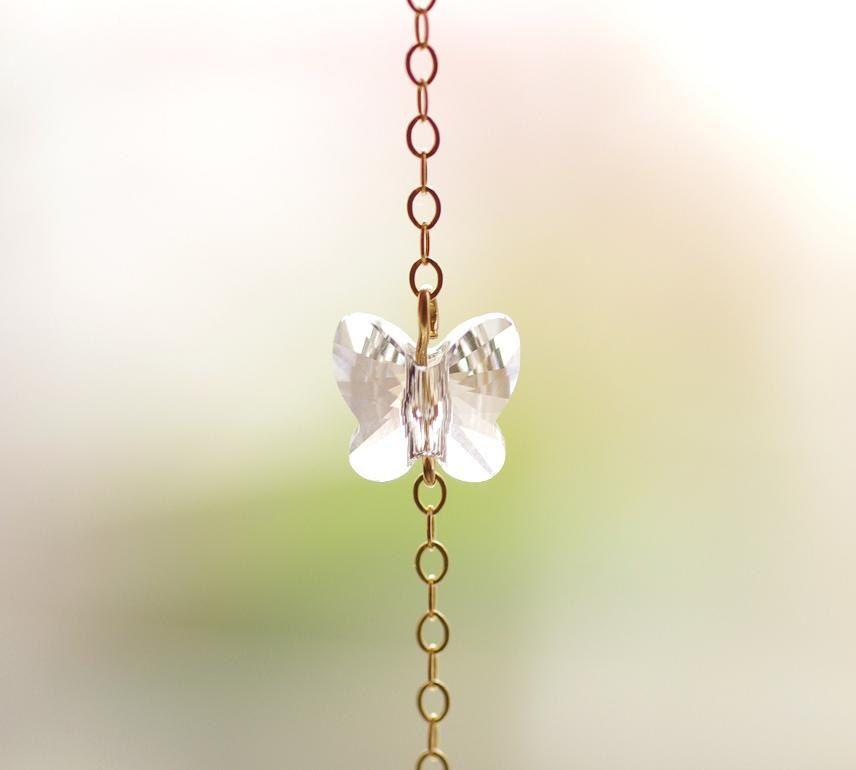 Swarovski Crystal Butterfly Bracelet in Clear by CocoroJewelry on Etsy
