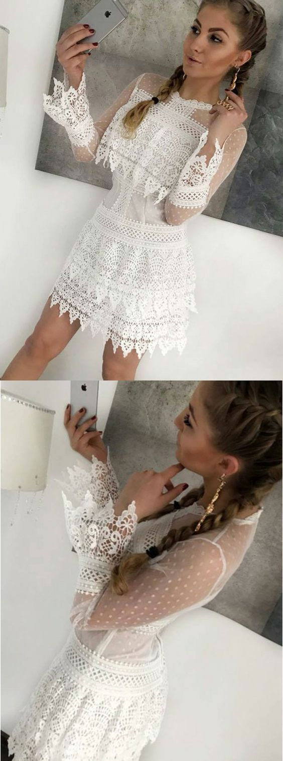 Sheath crew long sleeves short white lace homecoming dress d