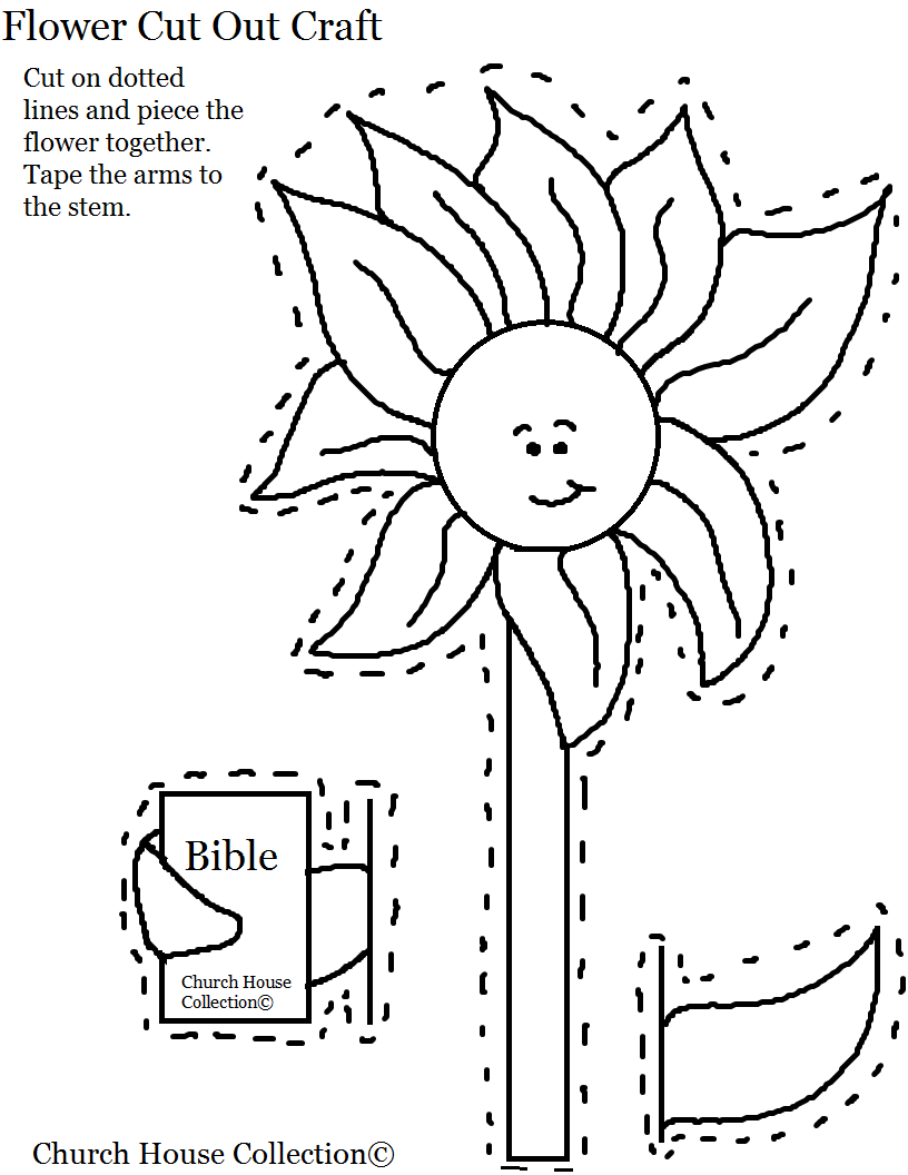 Spring coloring pages for church - Church House Collection Blog Flower Holding A Bible Cut Out Craft For Kids Sunday