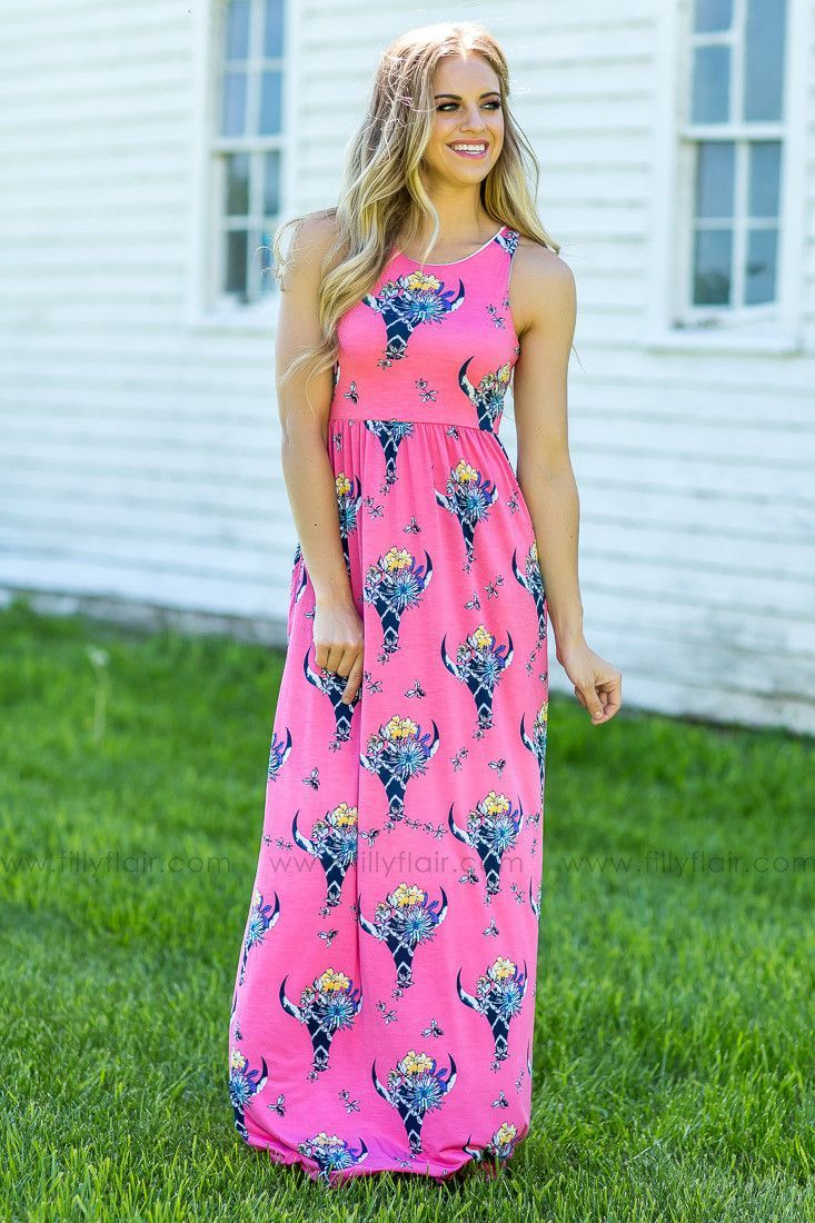 8f6e1ff4992 Pink Floral Cow Skull Printed Sleeveless Maxi Dress