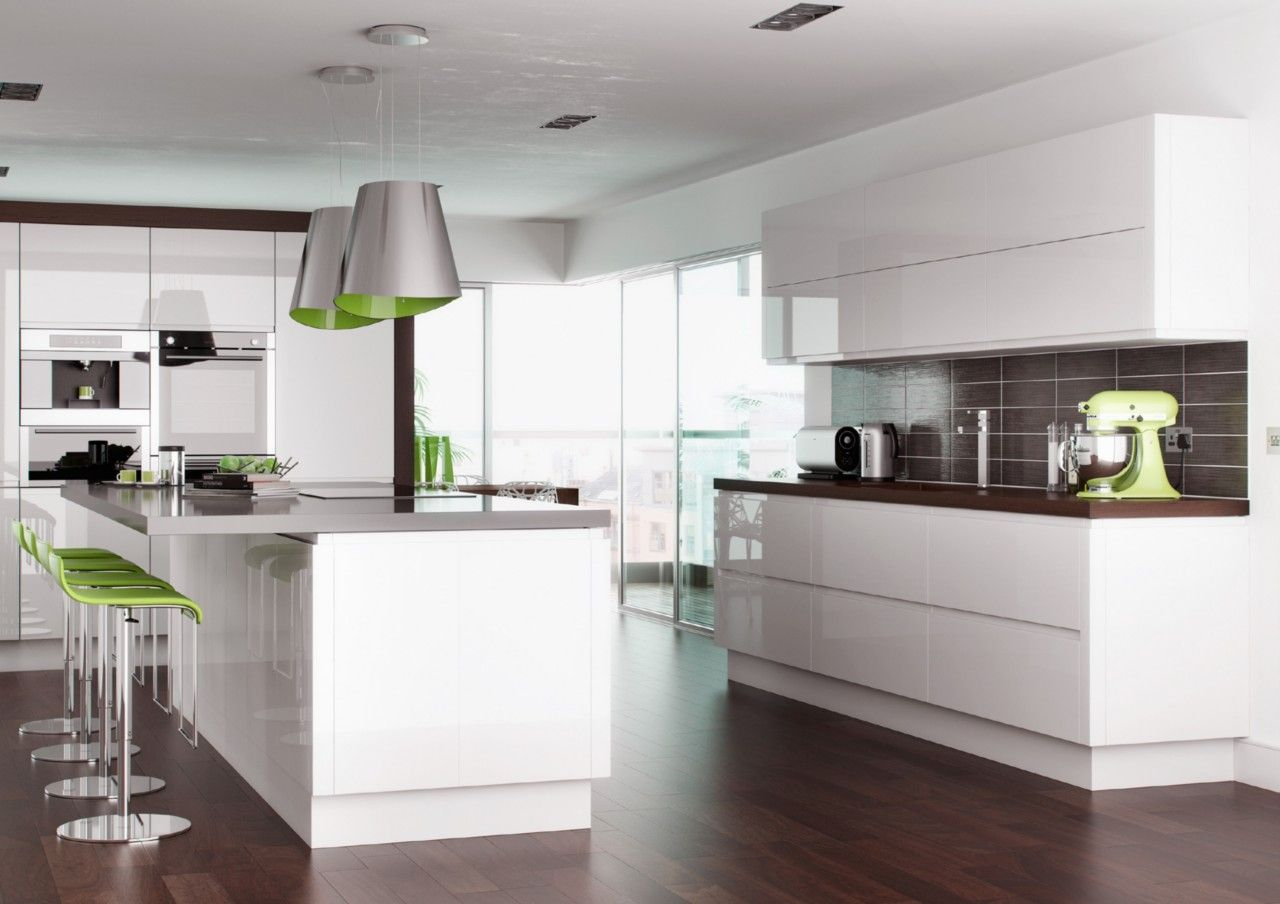 High Gloss White Handleless Replacement Kitchen Doors And Drawers