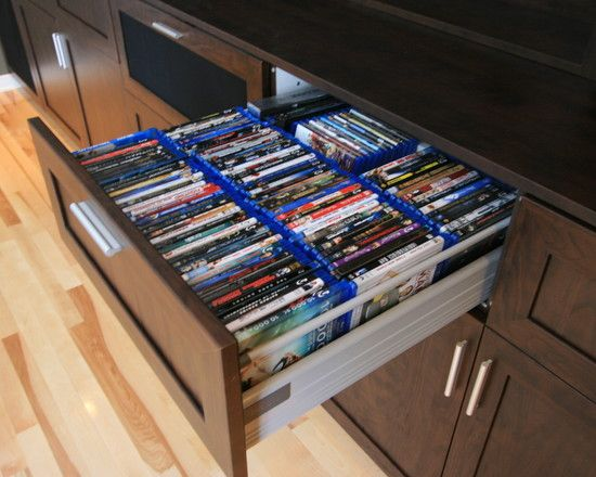 Modern Media Room DVD Blu Ray CD Storage Drawer. This Would Be Perfect In  The Theater Room.