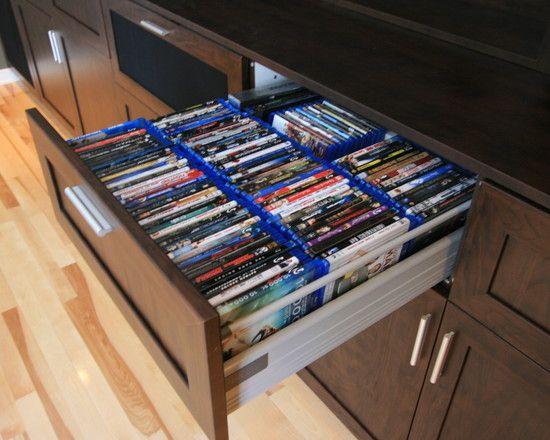 Drawer storage for DVDs. Custom AV Unit - modern - media room - montreal -  The Corner Woodshop / L'Atelier du Coin