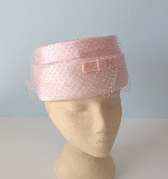 6003a80593088 1950s Pink Pillbox Hat / Vintage Light Pink by FoxyBritVintage, $32.00