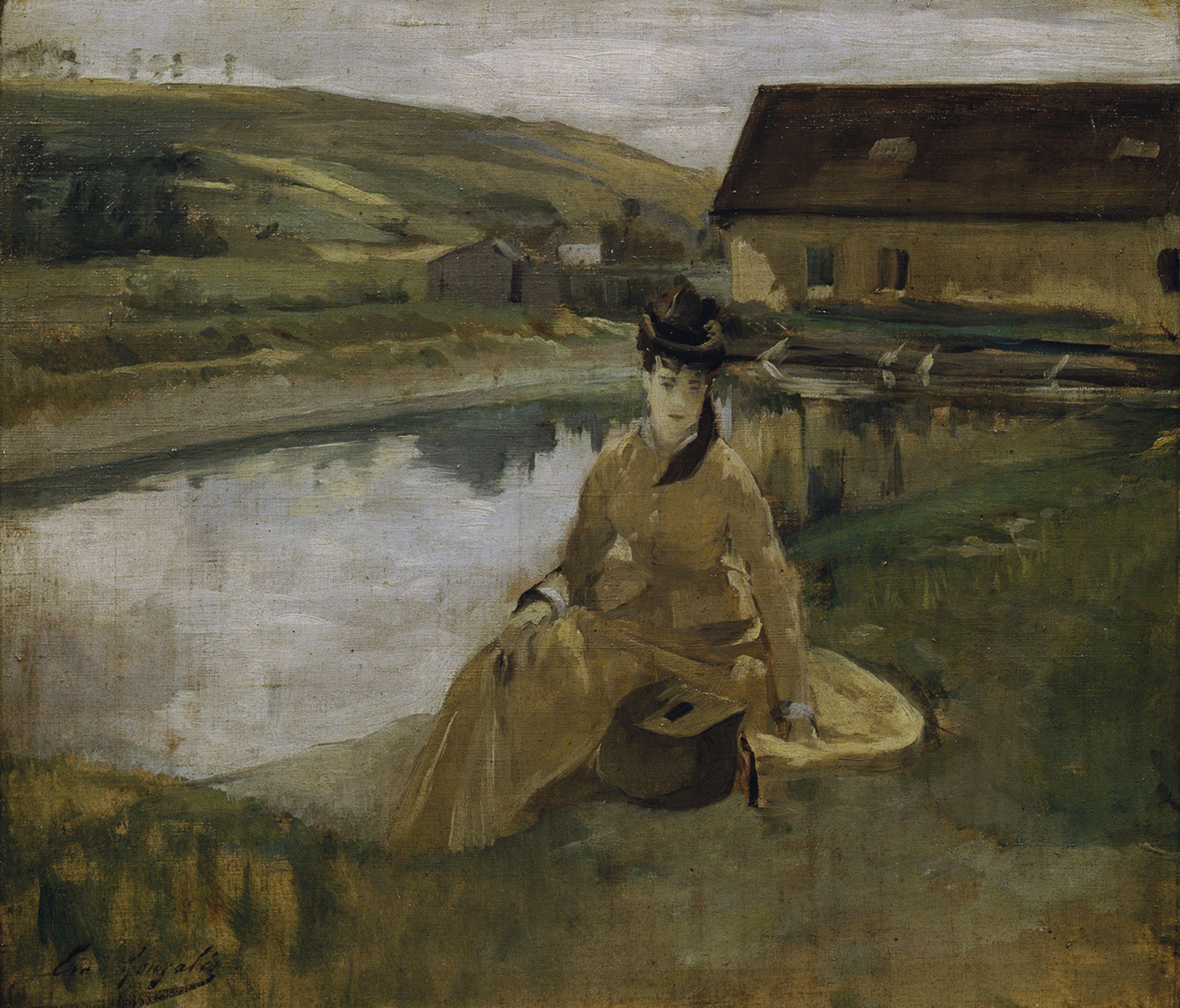 Eva Gonzales Am Wasser Um 1880 Ol Auf Leinwand 30 9 X 35 7 Cm Belvedere Wien Eva Gonzales Famous Impressionist Paintings Painting