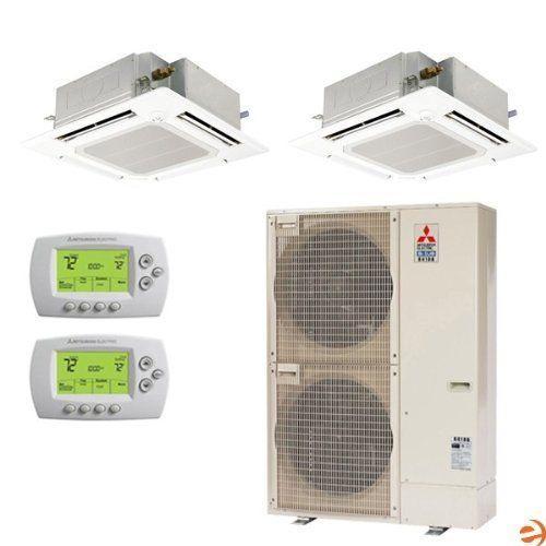 Mxz 8b48na Pla A18ba4 Pla A24ba4 Dual Zone Ceiling Cassette Heat By Mitsubishi 6861 95 Mitsubi Air Conditioner Accessories Attic Renovation Split System