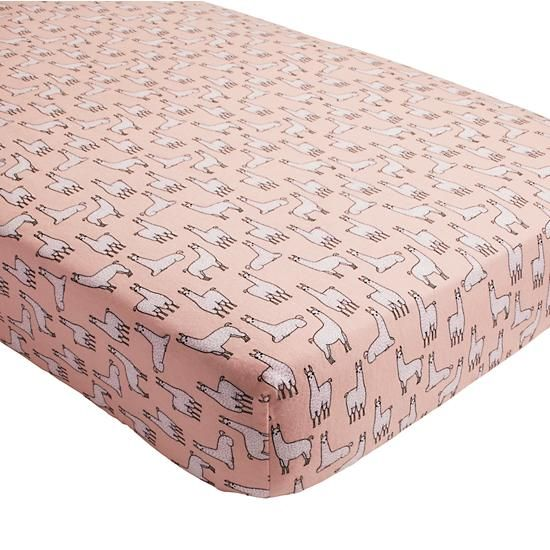 llama-a-rama flannel crib fitted sheet. maybe not coral colored
