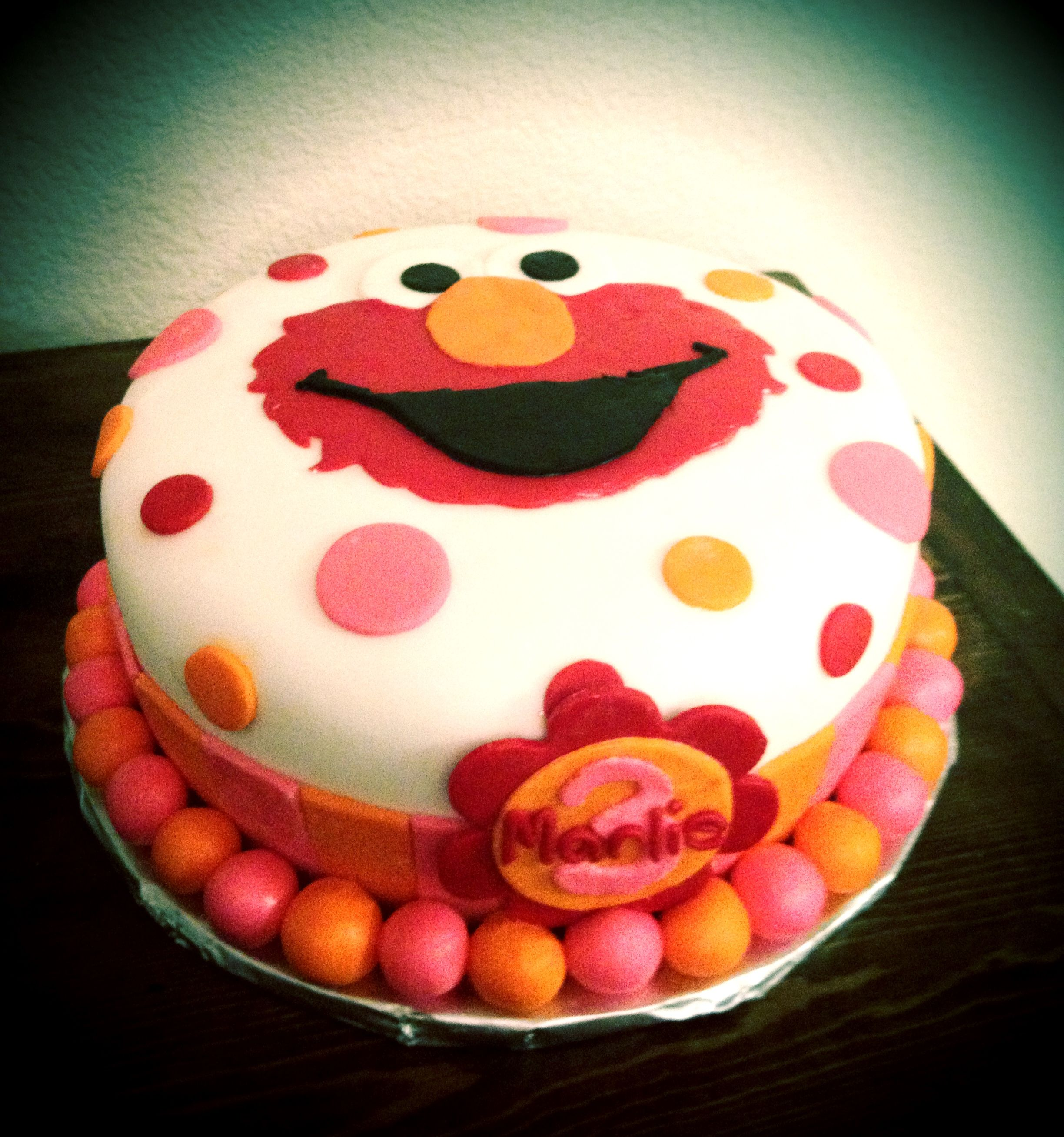 Phenomenal Elmo Birthday Cake Pink Orange And Red Elmo Birthday Cake Personalised Birthday Cards Veneteletsinfo