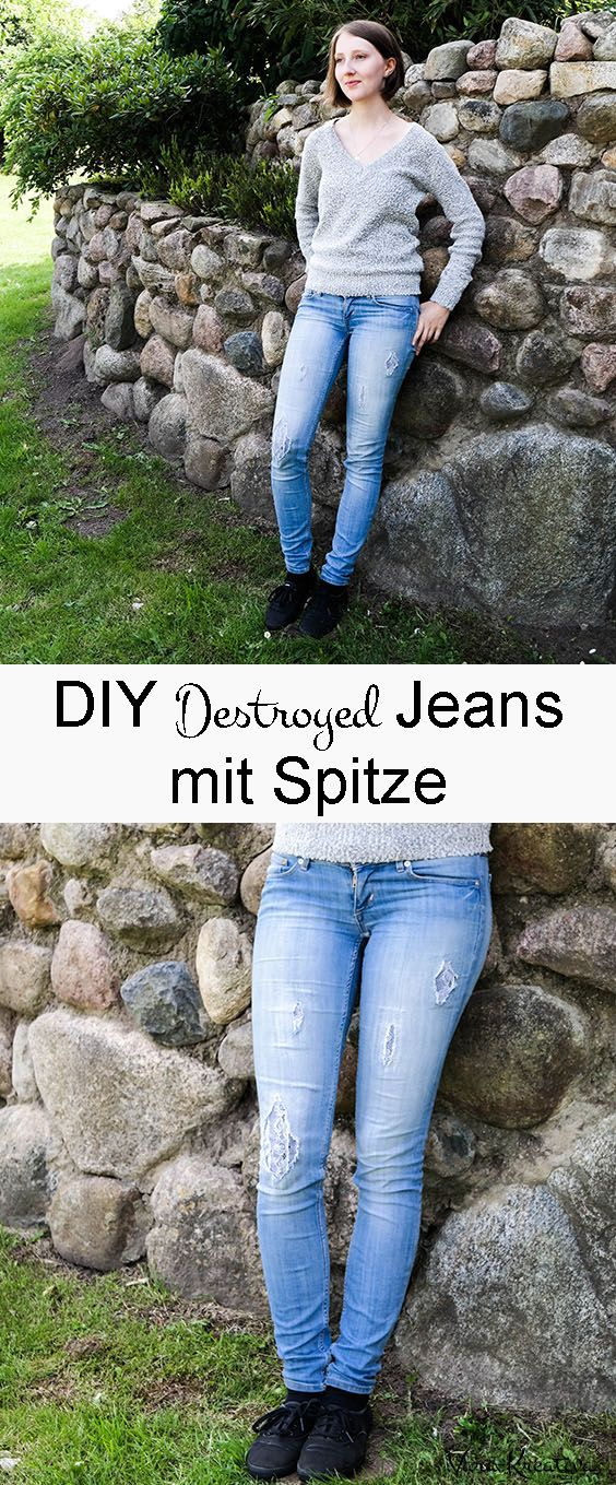 diy upcycling destroyed jeans mit spitze diy diy. Black Bedroom Furniture Sets. Home Design Ideas