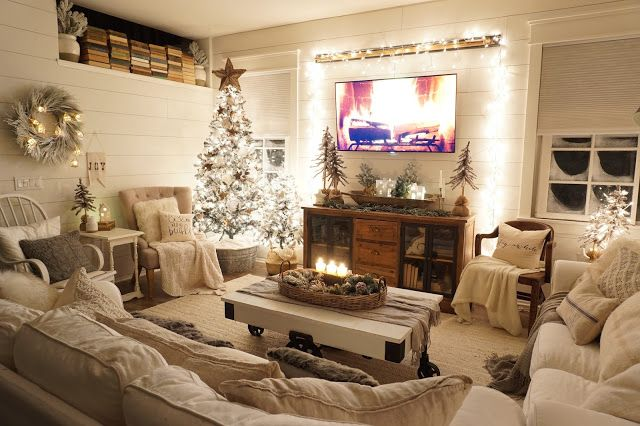 Perfecting The Homefront Cozy Christmas Living Room Night Tour Cozy Christmas Living Room Christmas Living Rooms Christmas Decorations Living Room