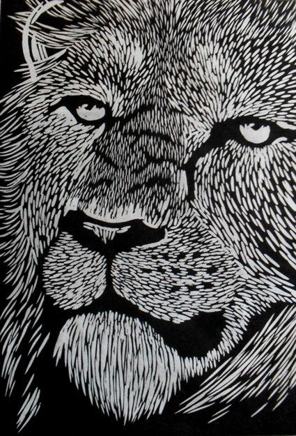 Lion linocut on japanese kozuke paper gsm white by