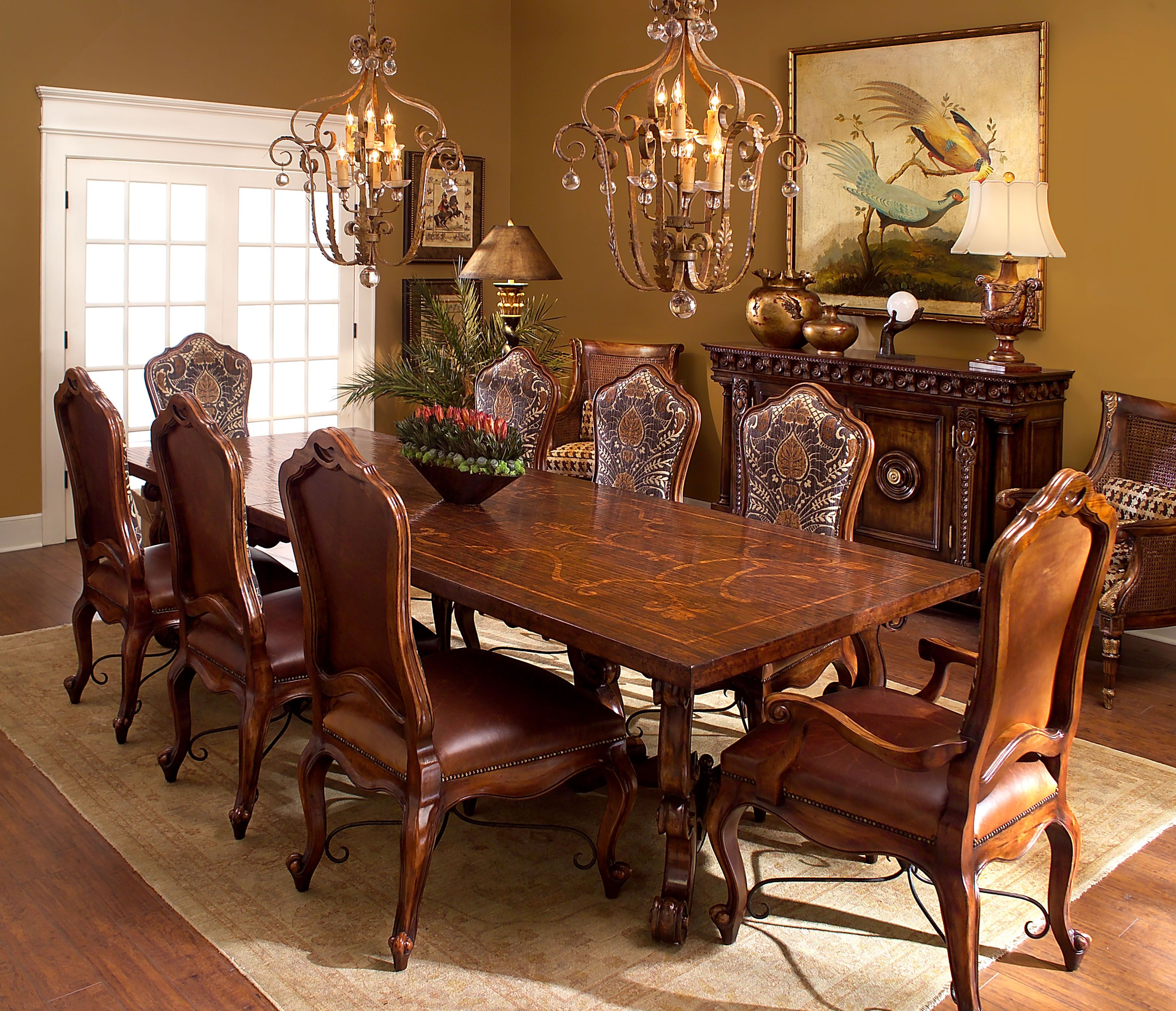 The Rafael Is A Large Oak Parquetry Top Extending Dining Table