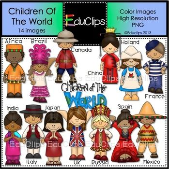 This set contains all of the images shown. Children from around the world: Africa, Brazil, Canada, China, Holland, France, India, Italy, Japan, UK, Russia, Spain, Mexico and a 'Children Of The World' sign.