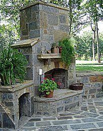 outdoor slate fireplace