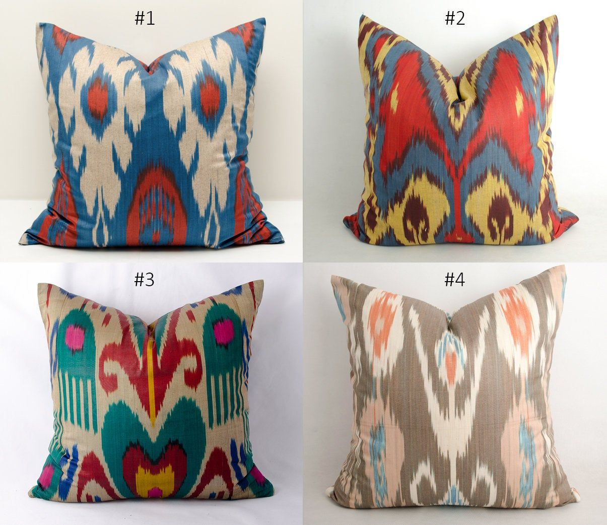 Hand Woven Ikat Pillow Cover Colorfull Ikat Pillow Cover Handmade Pillow Cover Silk Uzbek Pillow Cover Silk Ikat Pillow Cover