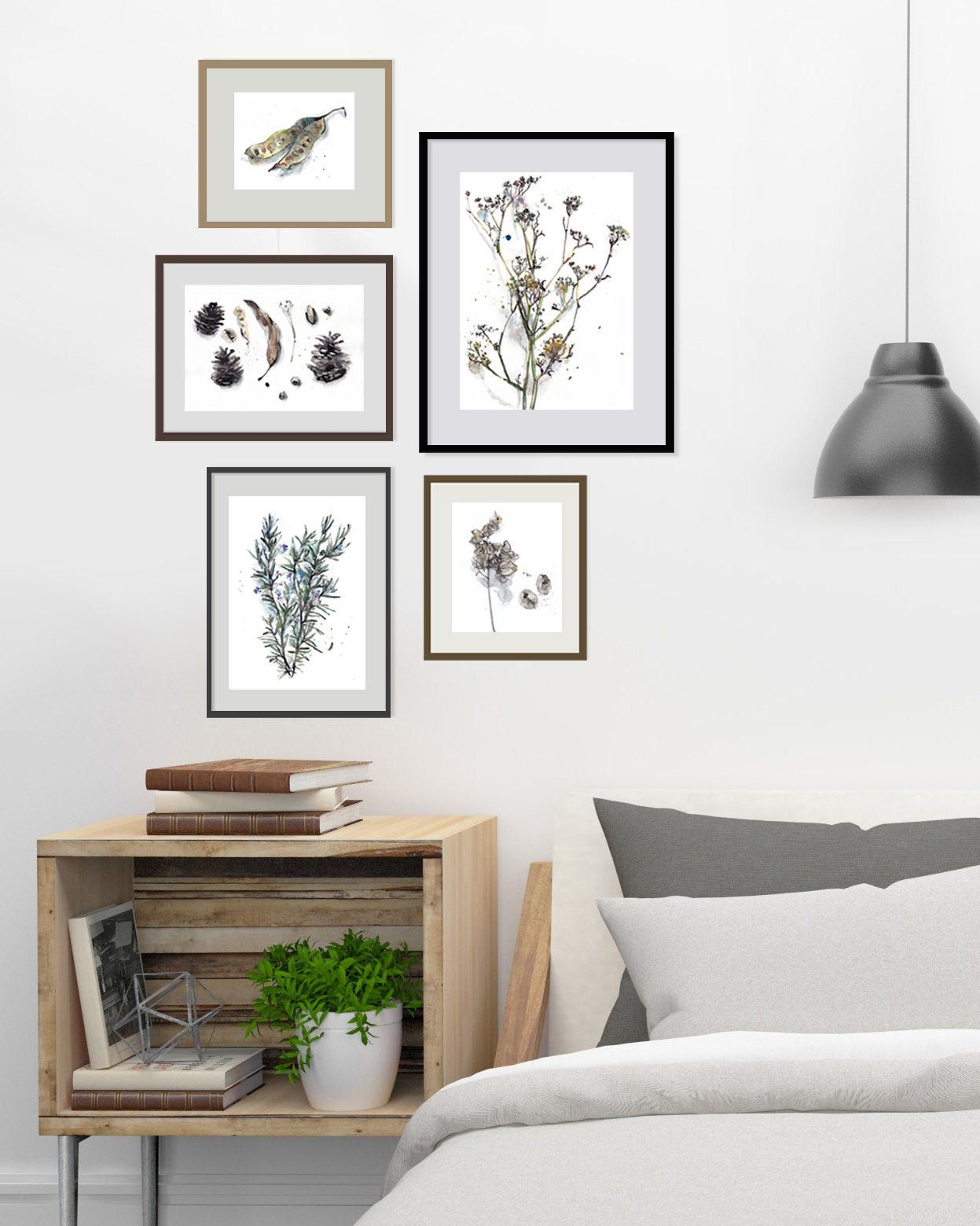 Dining Room Wall Set Of 5 Nature Art Prints In Beige And Green Etsy In 2020 Gallery Wall Bedroom Wall Decor Bedroom Gallery Wall