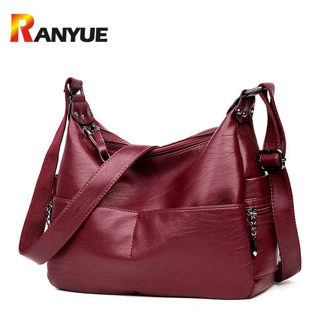 b04f00e97a97 Ranyue Роскошные Сумки Для женщин Сумки конструктор мягкий кожаный сумка  женская Курьерские сумки черный Повседневное сумка SAC основной 2017