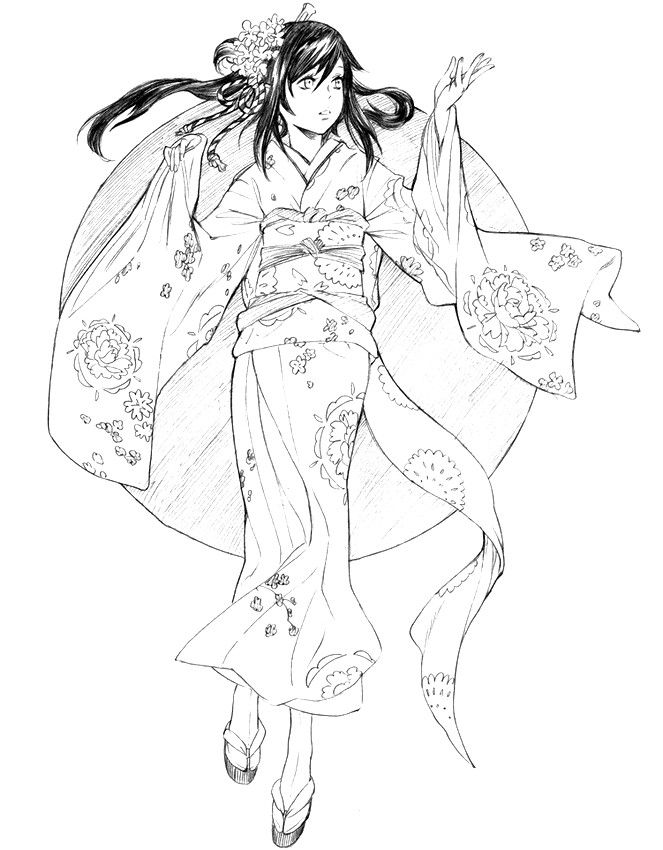 Japon: Kimono | coloriage divers / diverse colouring | Pinterest ...